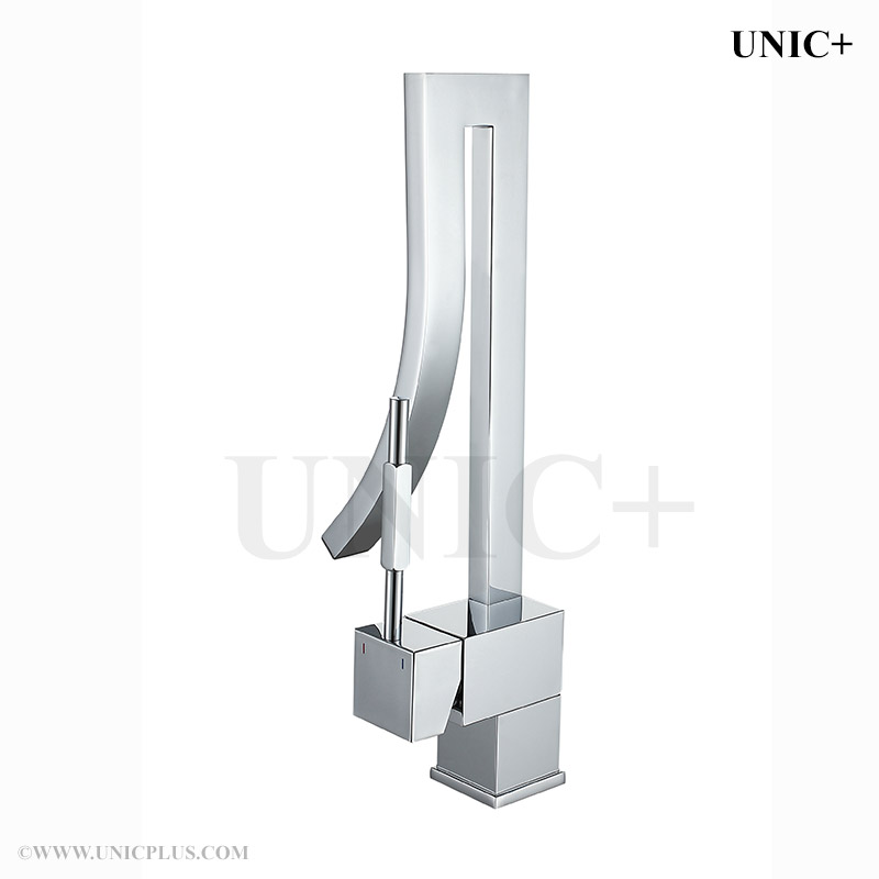 Waterfall Style Curved Spout Bathroom Lavatory Faucet