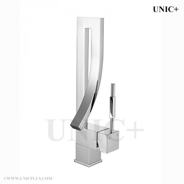 Waterfall Type Bathroom Faucets: Waterfall Style Curved Spout Bathroom Lavatory Faucet