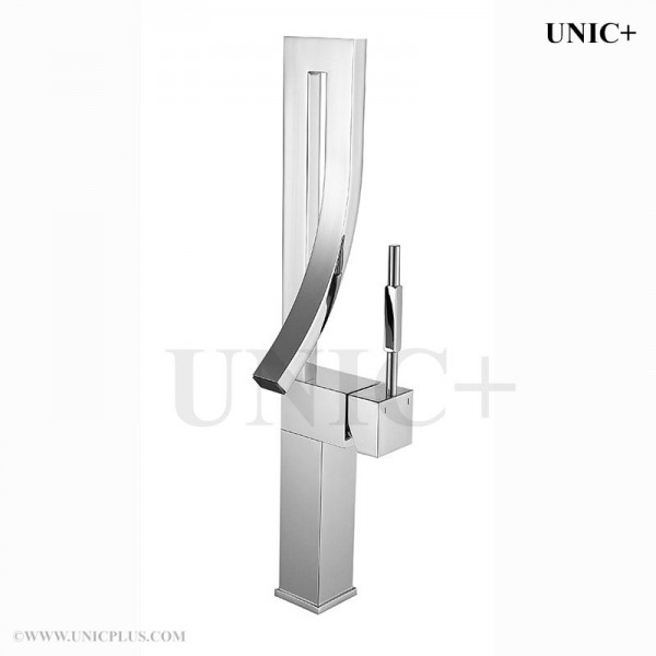 Modern Waterfall Style Curved Spouse Bathroom Vessel Sink Faucet BVF002 in Vancouver