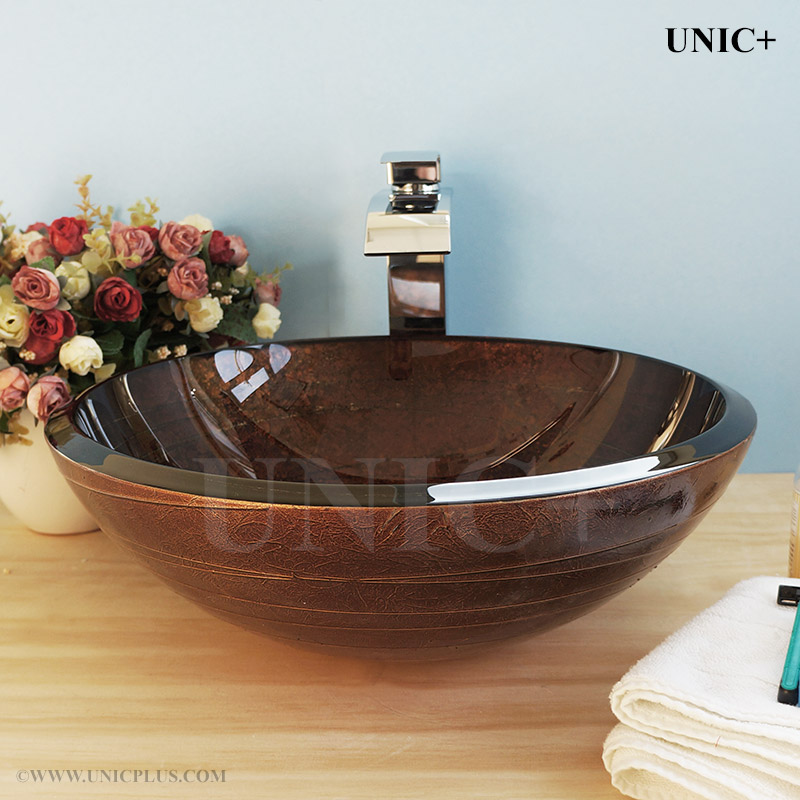 Hand Painted Tempered Glass Bathroom Vessel Sink Bvg001