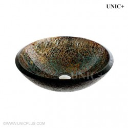 Hand Painted Tempered Glass Bathroom Vessel Sink - BVG005