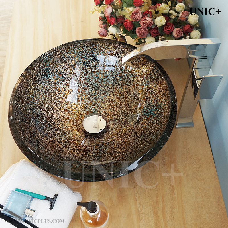 Hand Painted Tempered Glass Bathroom Vessel Sink Bvg005