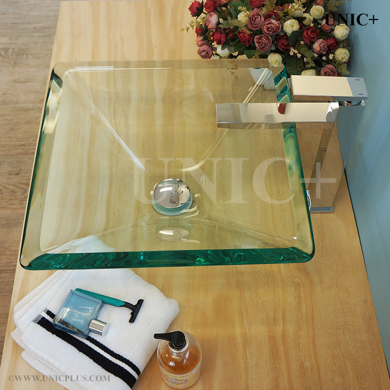 Bathroom Sinks Vancouver square shape clear tempered glass bathroom vessel sink - bvg007 in