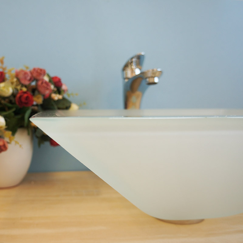 Square Shape Frosted Tempered Glass Bathroom Vessel Sink