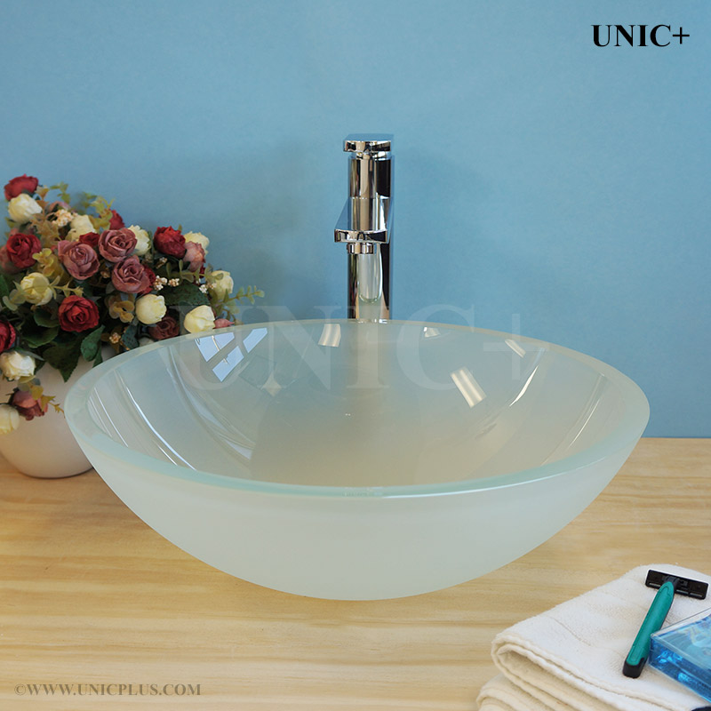 Frosted Tempered Crystal Glass Bathroom Vessel Sink   BVG010 In Vancouver