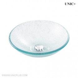 Broken Glass Style Tempered Crystal Glass Bathroom Vessel Sink - BVG011
