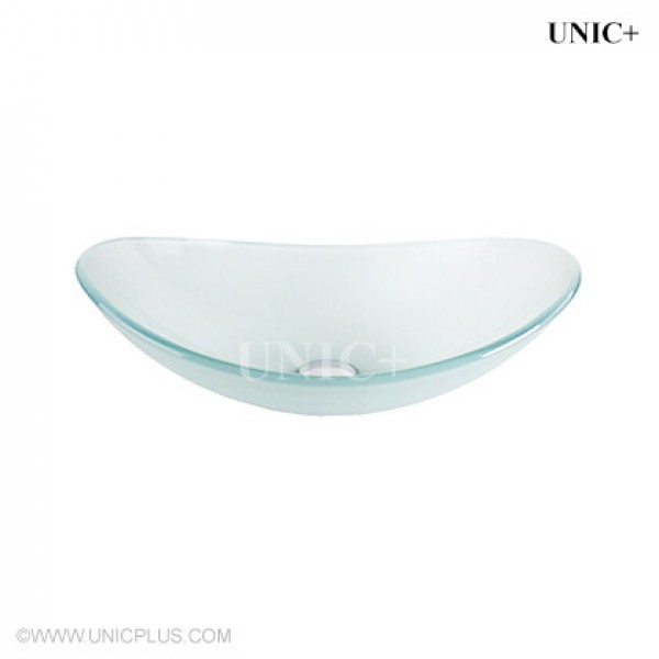 Modern Oval Shape Frosted Tempered Crystal Glass Bathroom Vessel Sink - BVG012 in Vancouver