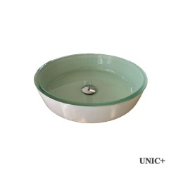 Round Shape Tempered Crystal Glass Bathroom Vessel Sink with White base Coating - BVG013