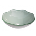 Flower Shape Frosted Tempered Crystal Green Glass Bathroom Vessel Sink with White base coating - BVG016 in Vancouver