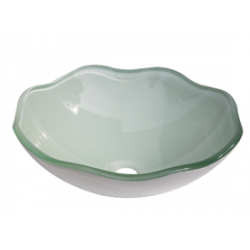 Flower Shape Frosted Tempered Crystal Green Glass Bathroom Vessel Sink with White base coating - BVG016