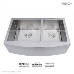 33 Inch Double bowl 60/40 split Small Radius Stainless Steel Farmhouse Apron Kitchen Sink  - KAD3321B R