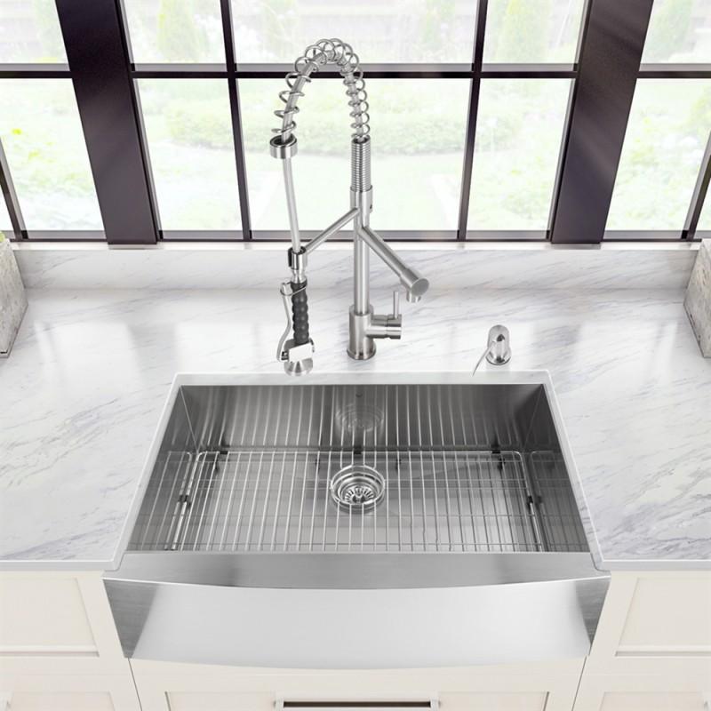 30 Inch Zero Radius Stainless Steel Farm Apron Kitchen Sink