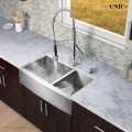 Modern 33 Inch Zero Radius Stainless Steel Farm Apron Kitchen Sink - KAS3321D in Vancouver