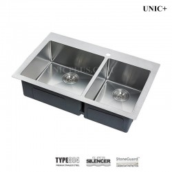 33 Inch double bowl 60/40 split Small Radius corners Stainless Steel Top Mount Kitchen Sink - KTD3321BR