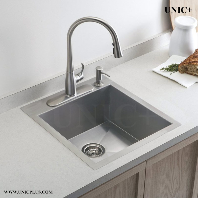 19 inch small radius stainless steel top mount kitchen for Best quality stainless steel kitchen sinks