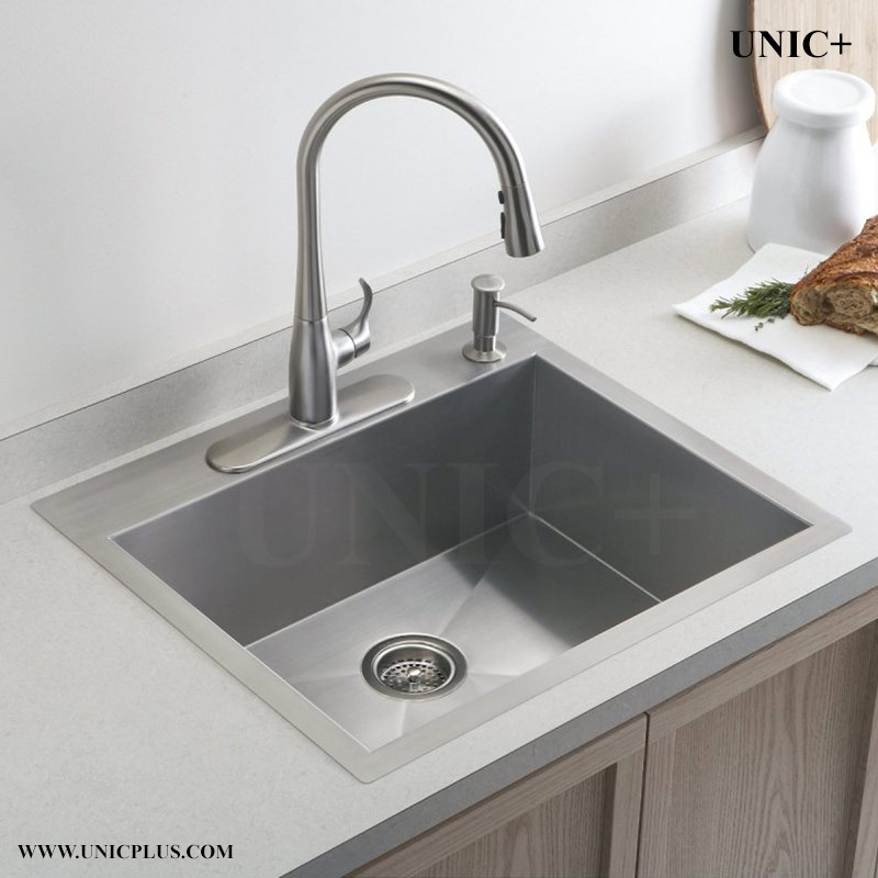 kitchen sink single bowl top mount 24 inch small radius stainless steel top mount kitchen 9568