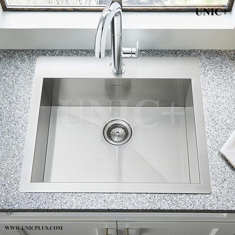 24 inch zero radius stainless steel top mount kitchen sink