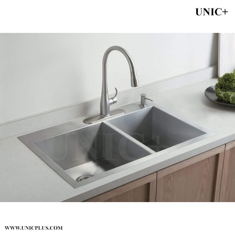 33 inch zero radius stainless steel top mount kitchen sink kts3321d in vancouver. Black Bedroom Furniture Sets. Home Design Ideas