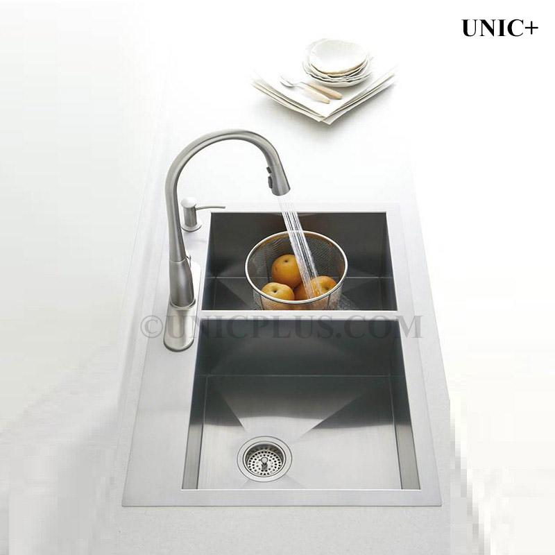 Top Mount Sink Kitchen: 33 Inch Zero Radius Stainless Steel Top Mount Kitchen Sink