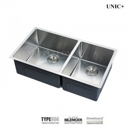 33 Inch Small Radius Style Stainless Steel Under Mount double Kitchen Sink - KUD3318B R