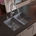 Modern 33 Inch Small Radius Style Stainless Steel Under Mount Kitchen Sink - KUR3318A in Vancouver