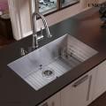 Modern 27 Inch Zero Radius Style Stainless Steel Under Mount Kitchen Sink - KUS2718 in Vancouver